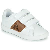 鞋子 儿童 球鞋基本款 Le Coq Sportif 乐卡克 COURTCLASSIC PS 白色 / 棕色