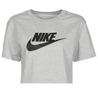 衣服 女士 短袖体恤 Nike 耐克 NSTEE ESSNTL CRP ICN FTR 灰色 / 黑色