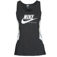 衣服 女士 无领短袖套衫/无袖T恤 Nike 耐克 NSHERITAGE TTOP HBR 黑色 / 灰色 / 白色