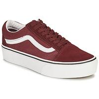 鞋子 女士 球鞋基本款 Vans 范斯 OLD SKOOL PLATFORM 波尔多红
