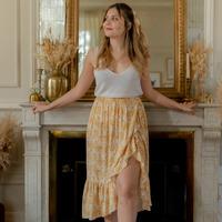 衣服 女士 半身裙 Céleste TOURTERELLE 黄色 / 白色