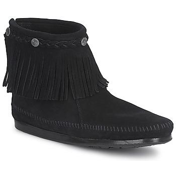 鞋子 女士 短筒靴 Minnetonka HI TOP BACK ZIP BOOT 黑色