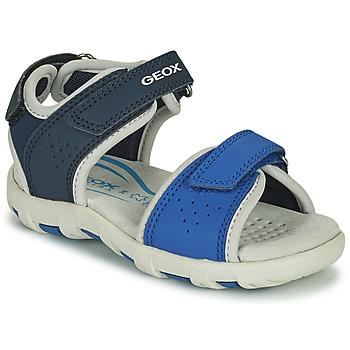 鞋子 男孩 凉鞋 Geox 健乐士 SANDAL PIANETA 蓝色