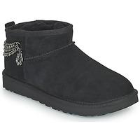 鞋子 女士 短筒靴 UGG Classic Ultra Mini Chains 黑色