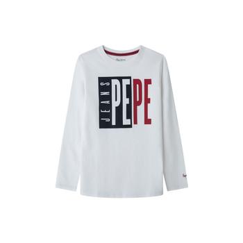 衣服 男孩 长袖T恤 Pepe jeans AARON 白色