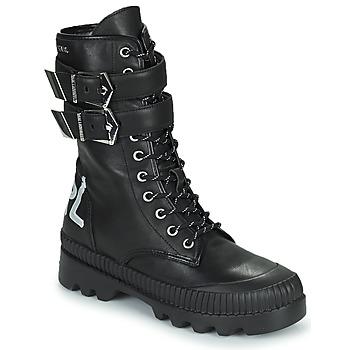 鞋子 女士 短筒靴 KARL LAGERFELD TREKKA II HI CUFF BUCKLE BOOT 黑色