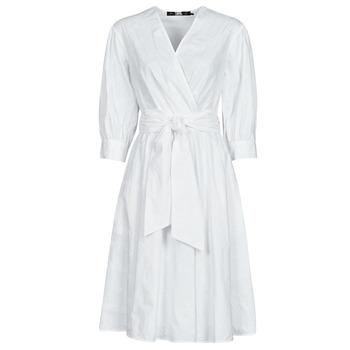 衣服 女士 短裙 KARL LAGERFELD LOGO EMROIDERED SHIRT DRESS 白色