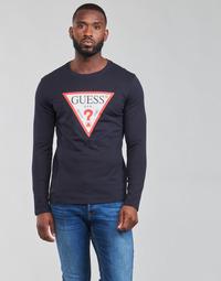 衣服 男士 长袖T恤 Guess CN LS ORIGINAL LOGO TEE 海蓝色