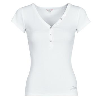 衣服 女士 短袖体恤 Guess ES SS V NECK LOGO HENLEY TEE 白色