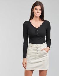 衣服 女士 长袖T恤 Guess ES LS V NECK LOGO HENLEY TEE 黑色