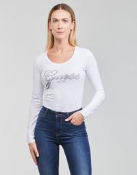 衣服 女士 长袖T恤 Guess LS CN RAISA TEE 白色