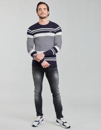 衣服 男士 羊毛衫 Guess LONDON EMBOSSED STRIPED CN 海蓝色 / 白色