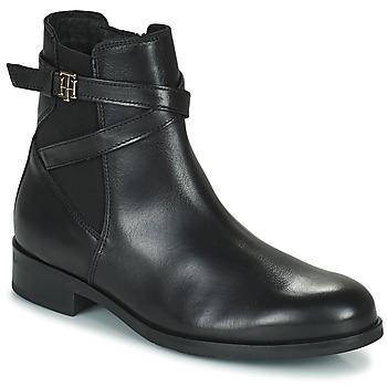 鞋子 女士 短筒靴 Tommy Hilfiger TH HARDWARE ON BELT FLAT BOOT 黑色