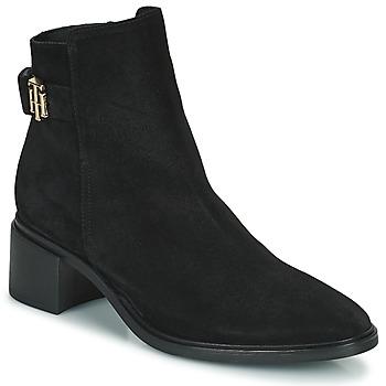 鞋子 女士 短筒靴 Tommy Hilfiger HARDWARE TH MID HEEL BOOT 黑色