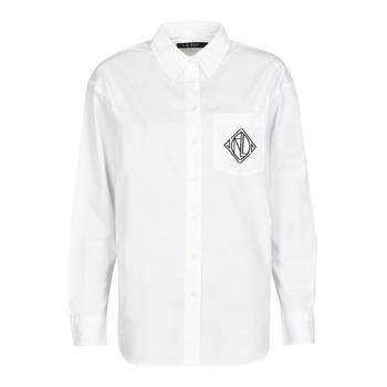 衣服 女士 衬衣/长袖衬衫 Lauren Ralph Lauren BRAWLEY-LONG SLEEVE-BUTTON FRONT SHIRT 白色