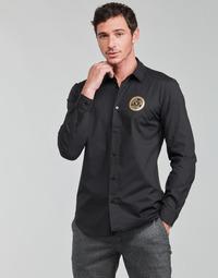 衣服 男士 长袖衬衫 Versace Jeans SLIM PRINT V EMBLEM GOLD 黑色 / 金色