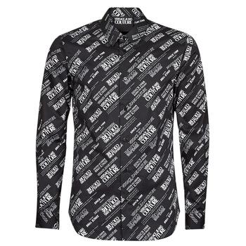 衣服 男士 长袖衬衫 Versace Jeans SLIM PRINT WARRANTY 黑色 / 白色
