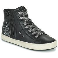 鞋子 女孩 高帮鞋 Geox 健乐士 KALISPERA 黑色 / 银色