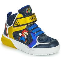 鞋子 男孩 高帮鞋 Geox 健乐士 GRAYJAY 蓝色 / 黄色