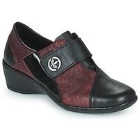 鞋子 女士 皮便鞋 Rieker 瑞克尔 HANTAR 黑色 / 波尔多红