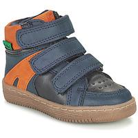 鞋子 男孩 短筒靴 Kickers LOGGAN 海蓝色 / 橙色