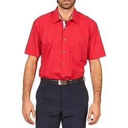 衣服 男士 短袖衬衫 Pierre Cardin 皮尔卡丹 CH MC POPELINE UNIE - OPPO RAYURE INTERIEUR COL & POIGNET 玫瑰色 / 红色