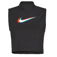 衣服 女士 无领短袖套衫/无袖T恤 Nike 耐克 W NSW TANK MOCK PRNT 黑色