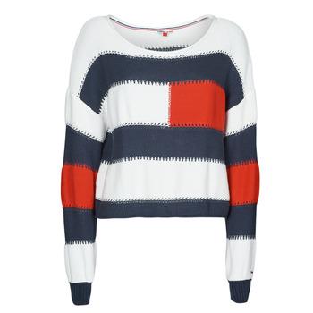 衣服 女士 羊毛衫 Tommy Jeans TJW  RWB STRIPE SWEATER 蓝色 / 白色 / 红色