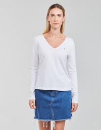 衣服 女士 长袖T恤 Tommy Hilfiger REGULAR CLASSIC V-NK TOP LS 白色
