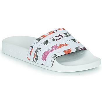 鞋子 女士 拖鞋 Adidas Originals 阿迪达斯三叶草 ADILETTE W 白色 / 花
