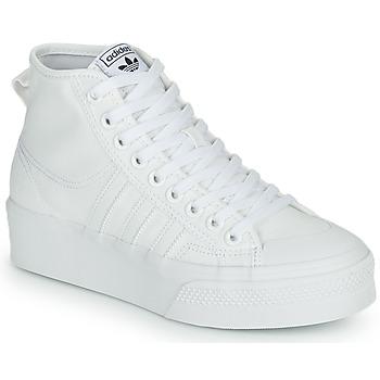 鞋子 女士 高帮鞋 Adidas Originals 阿迪达斯三叶草 NIZZA PLATFORM MID 白色