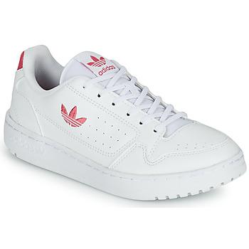 鞋子 女孩 球鞋基本款 Adidas Originals 阿迪达斯三叶草 NY 90 J 白色 / 玫瑰色