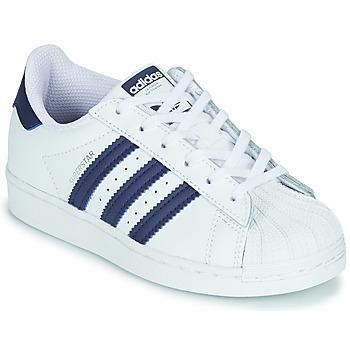 鞋子 儿童 球鞋基本款 Adidas Originals 阿迪达斯三叶草 SUPERSTAR C 白色 / 蓝色