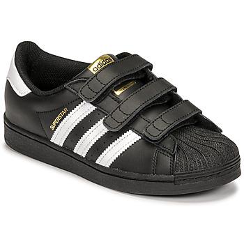 鞋子 儿童 球鞋基本款 Adidas Originals 阿迪达斯三叶草 SUPERSTAR CF C 黑色 / 白色