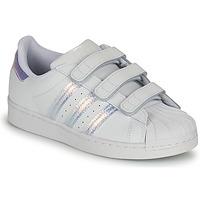 鞋子 儿童 球鞋基本款 Adidas Originals 阿迪达斯三叶草 SUPERSTAR CF C 白色 / 银色