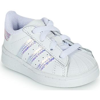 鞋子 女孩 球鞋基本款 Adidas Originals 阿迪达斯三叶草 SUPERSTAR EL I 白色 /  iridescent