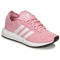 鞋子 女孩 球鞋基本款 Adidas Originals 阿迪达斯三叶草 SWIFT RUN X J 玫瑰色 / 白色