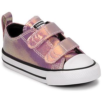 鞋子 女孩 球鞋基本款 Converse 匡威 CHUCK TAYLOR ALL STAR 2V IRIDESCENT GLITTER OX 玫瑰色