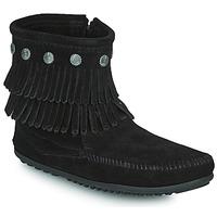 鞋子 女士 短筒靴 Minnetonka DOUBLE FRINGE SIDE ZIP BOOT 黑色