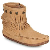 鞋子 女士 短筒靴 Minnetonka DOUBLE FRINGE SIDE ZIP BOOT 棕色