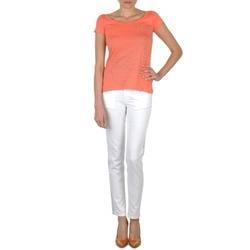 衣服 女士 紧身牛仔裤 Calvin Klein Jeans JEAN BLANC BORDURE ARGENTEE 白色