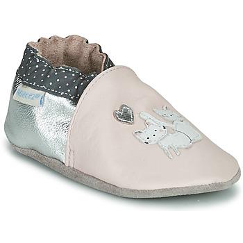 鞋子 女孩 儿童拖鞋 Robeez CAT FRIENDS 玫瑰色 / 银灰色
