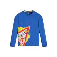 衣服 男孩 长袖T恤 Guess LISTIN 蓝色