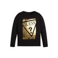 衣服 女孩 长袖T恤 Guess UPSET 黑色