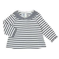 衣服 女孩 长袖T恤 Petit Bateau 小帆船 HOLINU 白色 / 蓝色