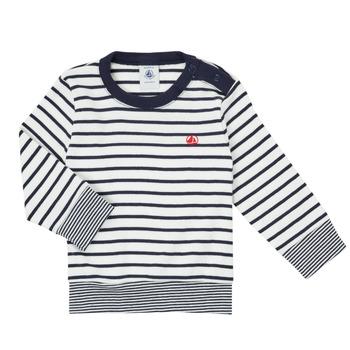 衣服 男孩 长袖T恤 Petit Bateau 小帆船 IGRAE 白色 / 蓝色