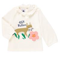 衣服 女孩 长袖T恤 Petit Bateau 小帆船 ENLEVE 白色