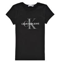 衣服 女孩 短袖体恤 Calvin Klein Jeans VOYAT 黑色