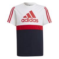 衣服 男孩 短袖体恤 adidas Performance 阿迪达斯运动训练 GUILIA 白色 / 海蓝色