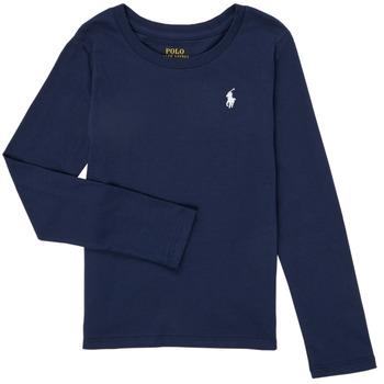 衣服 女孩 长袖T恤 Polo Ralph Lauren PETRA 海蓝色